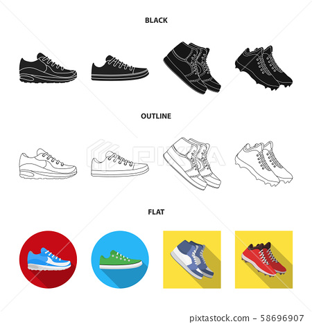 Vector illustration of shoe and sport symbol. Collection of shoe and fitness vector icon for stock. 58696907