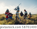 Medieval knights fight, great combat 58701400