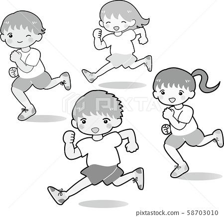 Running children 4 people set black and white boys girls gymnastics running illustration 58703010