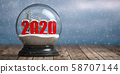 Happy new 2020 year, Snowball witn 2020 on the 58707144