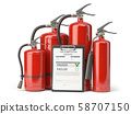 Fire extinguisher checking concept. Fire 58707150