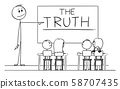 Vector Cartoon Illustration of Teacher in Classroom with Marker in Hand Pointing at the Truth Word 58707435