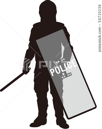 剪影 防暴警察 警官 58710156