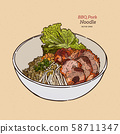 Chinese Style BBQ Pork with Egg Noodle. Hand draw 58711347