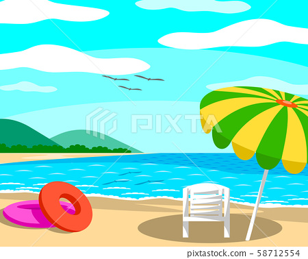Beach with umbrellas and chairs On a day with clear skies, good atmosphere.  58712554