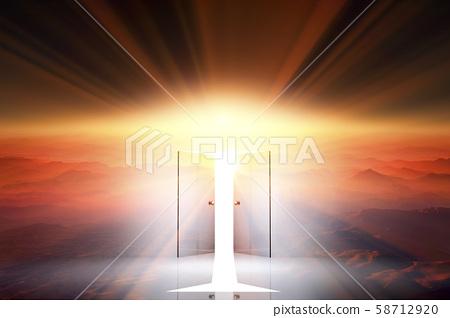 일출과 빛이 비치는 문 58712920