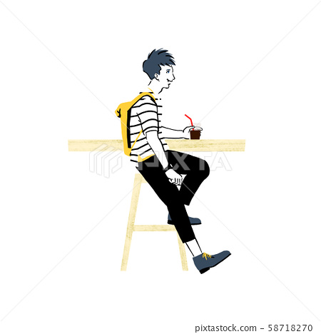 Young man relaxing in a cafe 58718270