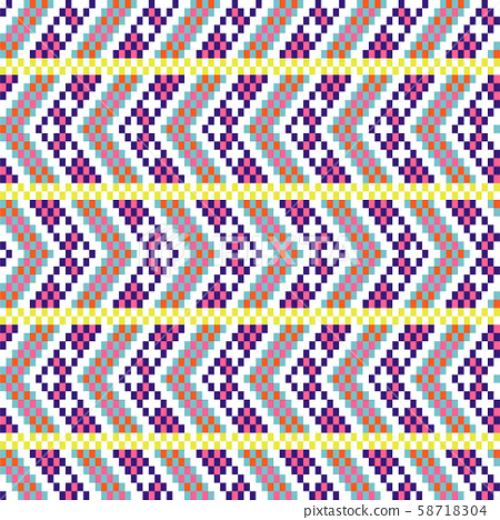 Bold arrow chevron seamless pattern pixel blocks shapes texture. 58718304