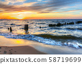 Beautiful sunset ovet the Baltic sea of Gdansk 58719699