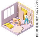 Vector isometric worker plastering wall 58719964