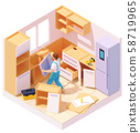 Vector isometric kitchen furniture installation 58719965