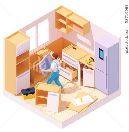 Vector isometric kitchen furniture installation 58719965