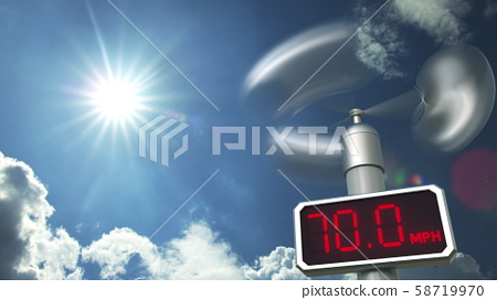 Digital anemometer displays 70 mph wind speed. Hurricane forecast related 3D rendering 58719970