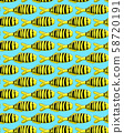 Seamless pattern with Golden trevally on blue 58720191