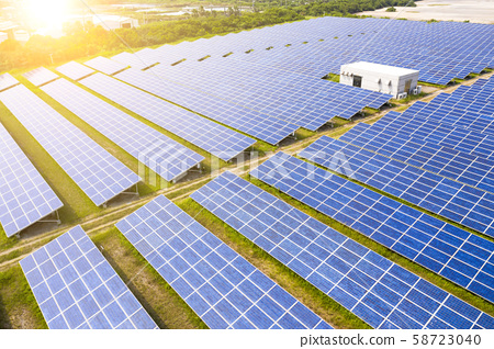 aerial view of solar panels on grass 58723040