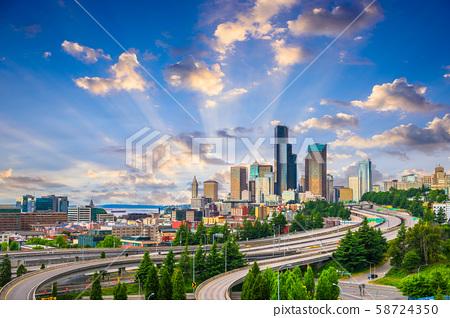 Seattle, Washington, USA downtown city skyline 58724350