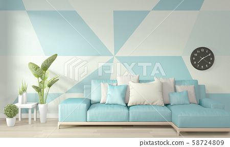 Ideas Of Light Blue And White Living Room Stock Illustration 58724809 Pixta