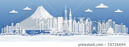 Tokyo paper cut. Japan city skyline panorama with famous landmarks and architecture for travel the 58726694