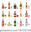 Alcohol bottles and glasses. Alcoholic bottle with cider, vermouth in glass or liqueur shot and 58726720