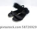 Black Ankle Strap Sandal on white isolate 58726929