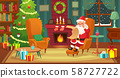 Christmas interior. Santa Claus winter holiday decorated living room with fireplace and xmas tree 58727722