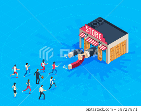 Store attraction customers. Market magnet attracted loyal customer. Inbound marketing attract 58727871