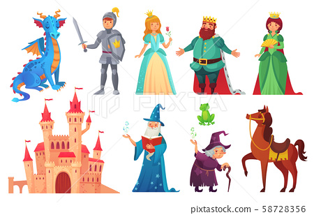 Fairy tales characters. Fantasy knight and dragon, prince and princess, magic world queen and king 58728356