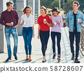 teens leisure group male female friends walking 58728607