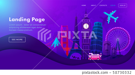 Landing page template design with famous landmarks in modern neon night style for travel or tourism 58730332