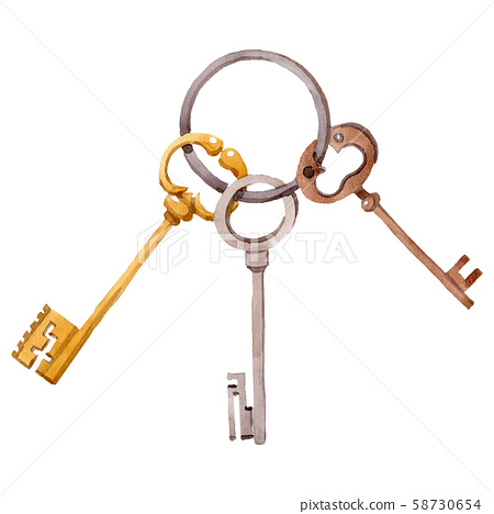 Bunch of old vintage keys. Watercolor background illustration set. Isolated key illustration element 58730654