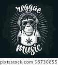 Monkey hipster with dreadlocks in headphones, 58730855