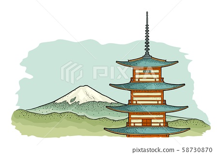 Mountain Fuji in Japan. Vintage color vector 58730870