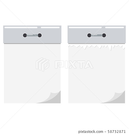 New and torn sheet empty blank white tear-off paper and silver metal wall calendar icon set isolated 58732871