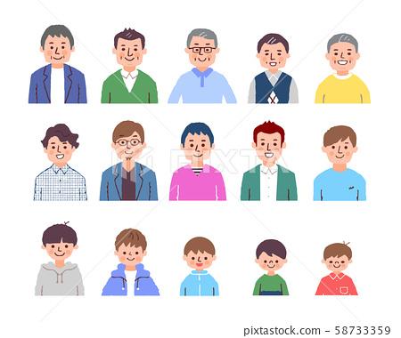 다양한 세대의 남성 상반신 컬러 58733359