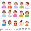 ผู้หญิงรุ่นต่าง ๆ สีร่างกายส่วนบน 58733365