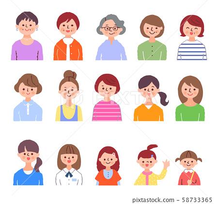 다양한 세대의 여성 상반신 58733365