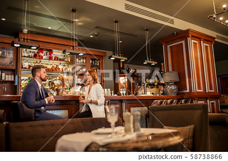 Couple enjoying date in cafe 58738866