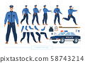 Police Officer Character Constructor Vector Set 58743214