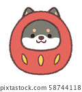 Daruma Black Shiba Inu-no background 58744118