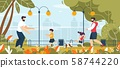 Two Fathers Walking with Children in Park Cartoon 58744220