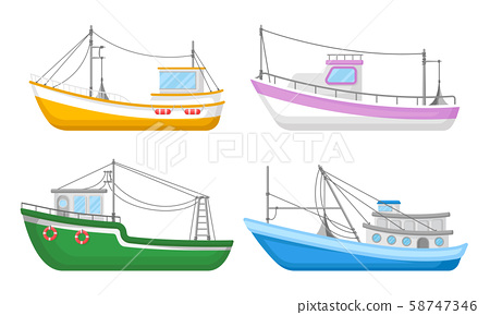 Yachts And Commercial Fishery Ships Vector Illustrated Set 58747346