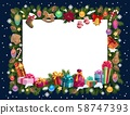 Christmas frame of Xmas gifts and New Year present 58747393