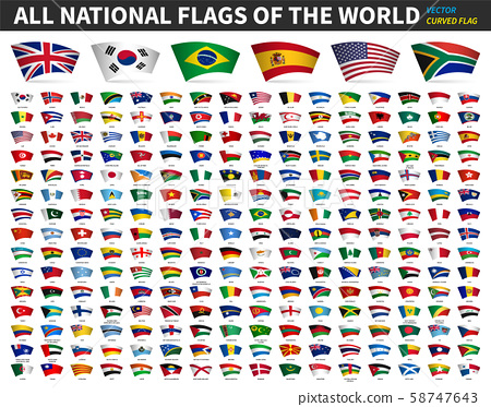 All national flags of the world . Curved design . 58747643