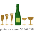 Variety of elegant champagne glasses and bottle isolated on white background. Festive decoration for holiday greeting card, postcard. Vector background 58747650