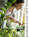 Attractive concentrated young female spraying her plants 58747934