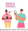 Refer a friend concept, friend referring and receiving gift. Hand lettering note refer a friend. Flat cartoon style vector illustration in pink and turquoise colors. 58749123