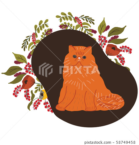 Cute ginger persian cat with floral decor. Flat cartoon style. Vector illustration. 58749458