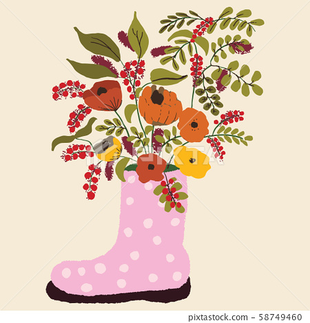 Pink rubber boots with white polka dots. Autumn color flowers in a boot. Seasonal floral vector illustration with bouquet. 58749460