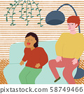 Happy kids sitting on Sofa. Naughty girl showing tongue and a boy looking at her. Disobedient children playing in Living Room. Mischievous Brother and Sister Having Fun at Home. vector illustration. 58749466