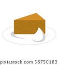 Chiffon cake with fresh cream on a white plate 58750183